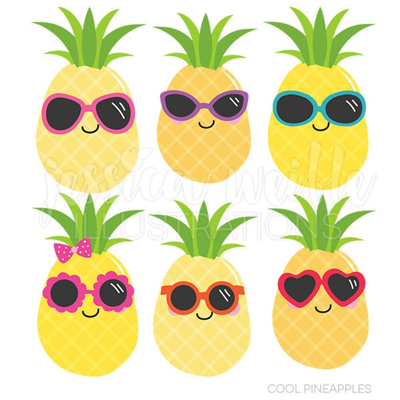 Cool Pineapples Cute Digital Clipart Commercial Use OK   Etsy