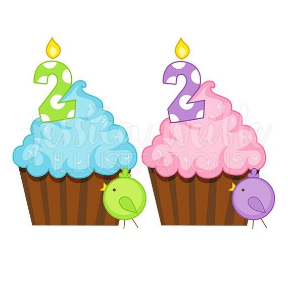 Second Birthday Cupcake Cute Digital Clipart Birthday Cupcake Etsy