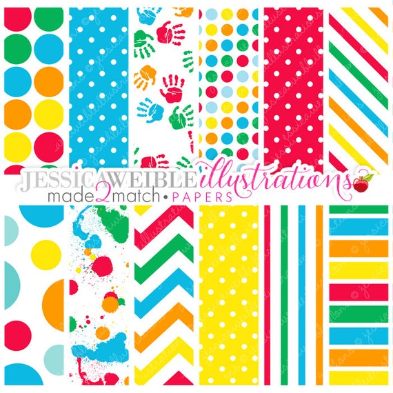finger painting cute digital papers commercial use ok primary