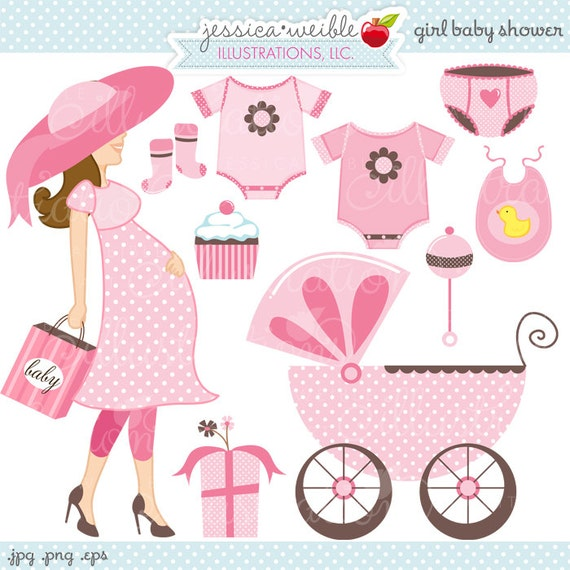 Girl Baby Shower Cute Digital Clipart Commercial Use Ok