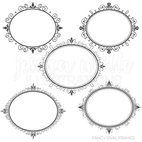 Fancy Oval Frames - Digital Clipart for Commercial or Personal Use ...