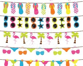 Tropical Garland Cute Clipart, Tropical Clipart, String of Flip Flops, Bunting Clipart, Tropical Clip Art, Flamingo Graphic, Summer clip art