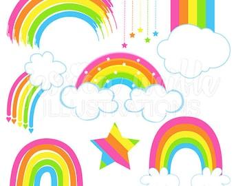 Just Rainbows Cute Digital Clipart, Rainbow Clip art, Rainbow Graphics, cloud, pink rainbow clipart, rainbow and cloud, pink rainbows