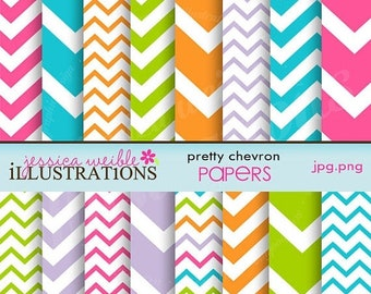 SALE Pretty Chevron Cute Digital Papers for Card Design, Scrapbooking, and Web Design