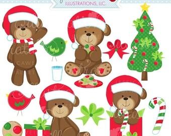 SALE Christmas Bears Cute Digital Clipart - Commercial Use OK - Christmas Graphics - Christmas Clipart - Christmas Bears