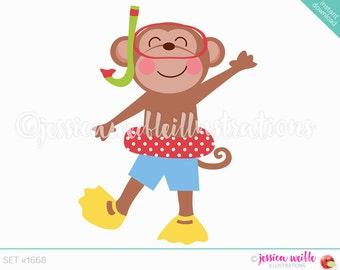 Boy Snorkel Fun Monkey Cute Digital Clipart, Cute Monkey Clip art, Summer Swimming Graphics, Monkey Swimmer Illustration, #1668