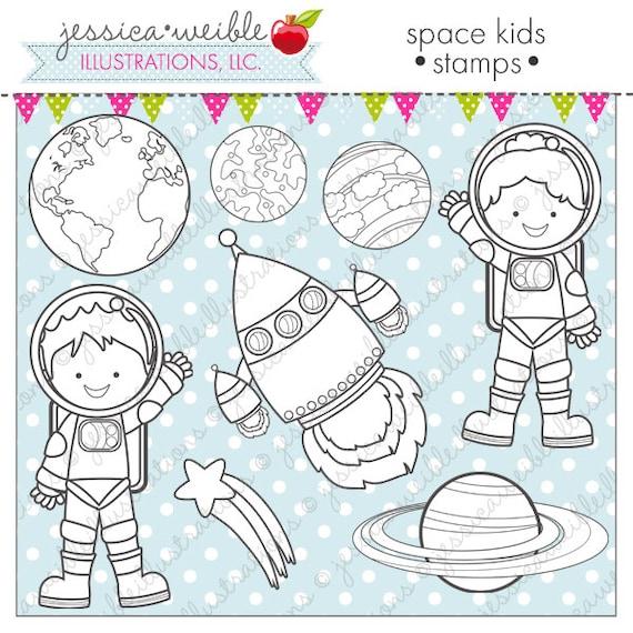 Space Kids Cute Digital Stamps Space Line Art Planet Digital | Etsy