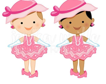 Dress Up Baby Girl Cute Digital Clipart, Toddler Girl Clip art, Playing Dress Up Graphics, Baby Girl Playing Dress Up Illustration, #289