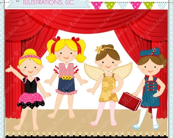 More Dance Recital Cute Digital Clipart for Commercial or Personal Use, Dance Clipart, Girls in Costume