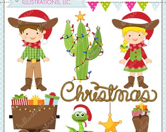 Cowboy Christmas Cute Digital Christmas Clipart for Commercial or Personal Use, Christmas Clipart, Cowboy Christmas