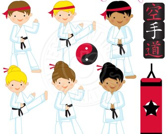 Karate Kids Cute Digital Clipart - Commercial Use Ok - Karate Clipart, Martial Art Clipart, Tae Kwon Do Clipart