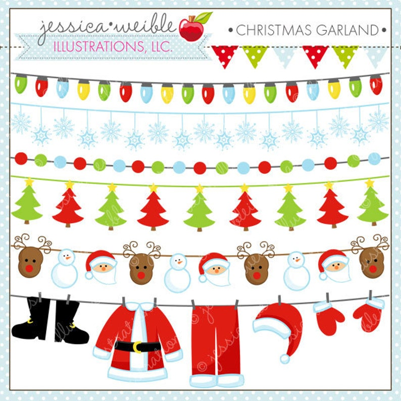 Christmas Garland Cute Digital Clipart For Invitations Card Design Scrapbooking And Web Design