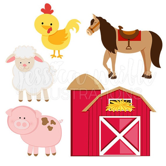 8bb102bb5 Barn Yard Animals Cute Digital Clipart Barn Clip art Farm
