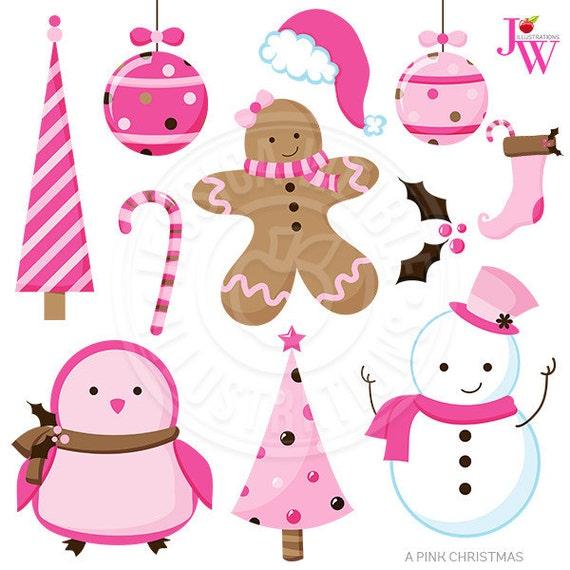 Cute Christmas Clip Art.A Pink Christmas Cute Christmas Digital Clipart Pink
