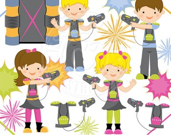 Laser Tag Cute Digital Clipart - Commercial Use OK - Laser Tag Clipart, Laser Blast, Laser Tag Graphics