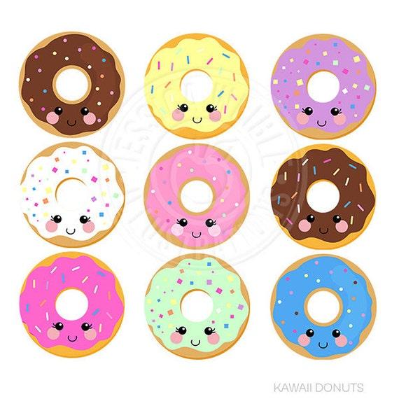 Kawaii Donuts Cute Digital Clipart Donut