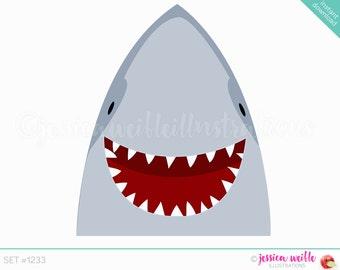 Instant Download Happy Shark Cute Digital Clipart, Smiling Shark Clip art, Shark Graphics, Cute Shark Illustration, #1233
