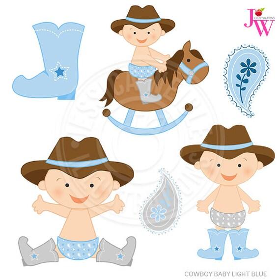 light blue cowboy baby cute digital clipart cute baby cowboy etsy