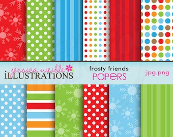 Frosty Friends Cute Digital Papers for Card Design, Scrapbooking, and Web Design