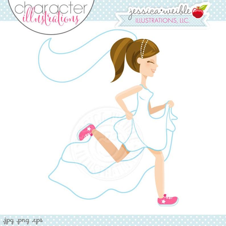 Illustration einer laufenden Braut für die Einladungskarte
