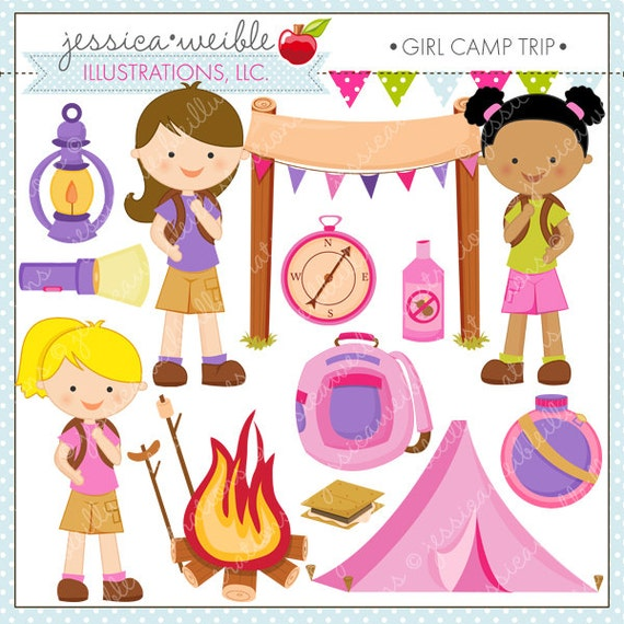 Girl Camp Trip Cute Digital Clipart for Commercial or ...