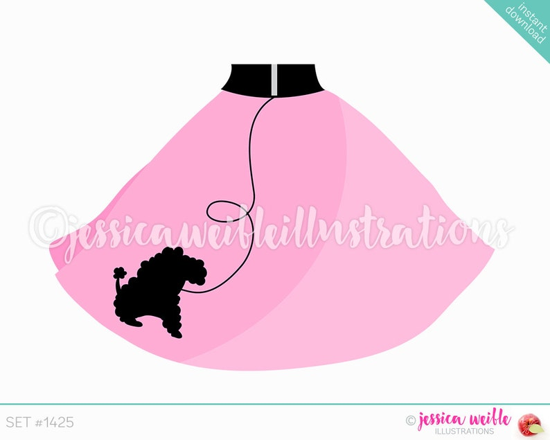 Instant Download Cute Pink Poodle Skirt Digital Clipart Etsy