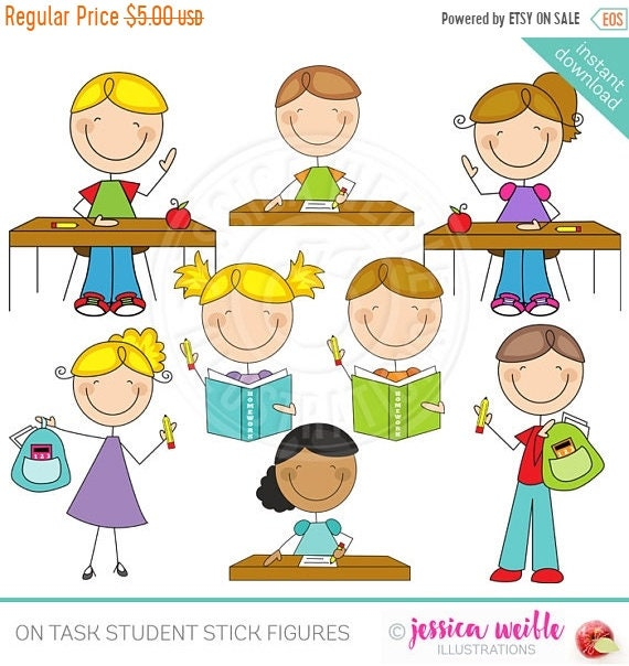 sale on task student stick figures cute digital clipart etsy