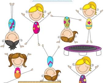 Gymnastics Stick Figures Cute Digital Clipart - Commercial Use OK - Girls Gymnastic Stick Figure Clipart, Gymnast Graphics, Stick Figures