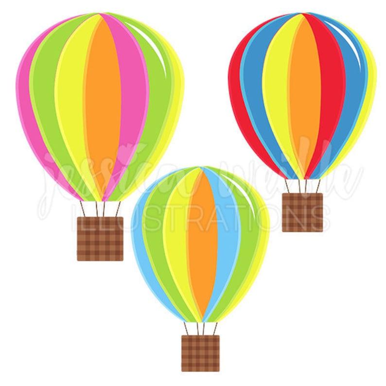 Hot Air Balloons Cute Digital Clipart Fun Striped Hot Air ...