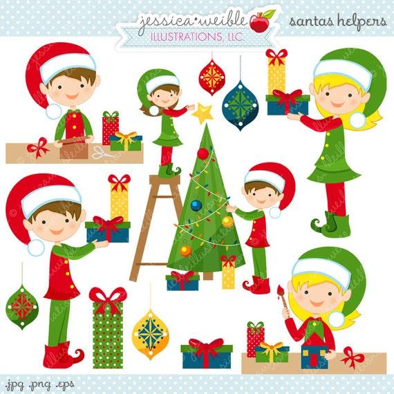Santas Helpers Cute Digital Christmas Clipart Commercial