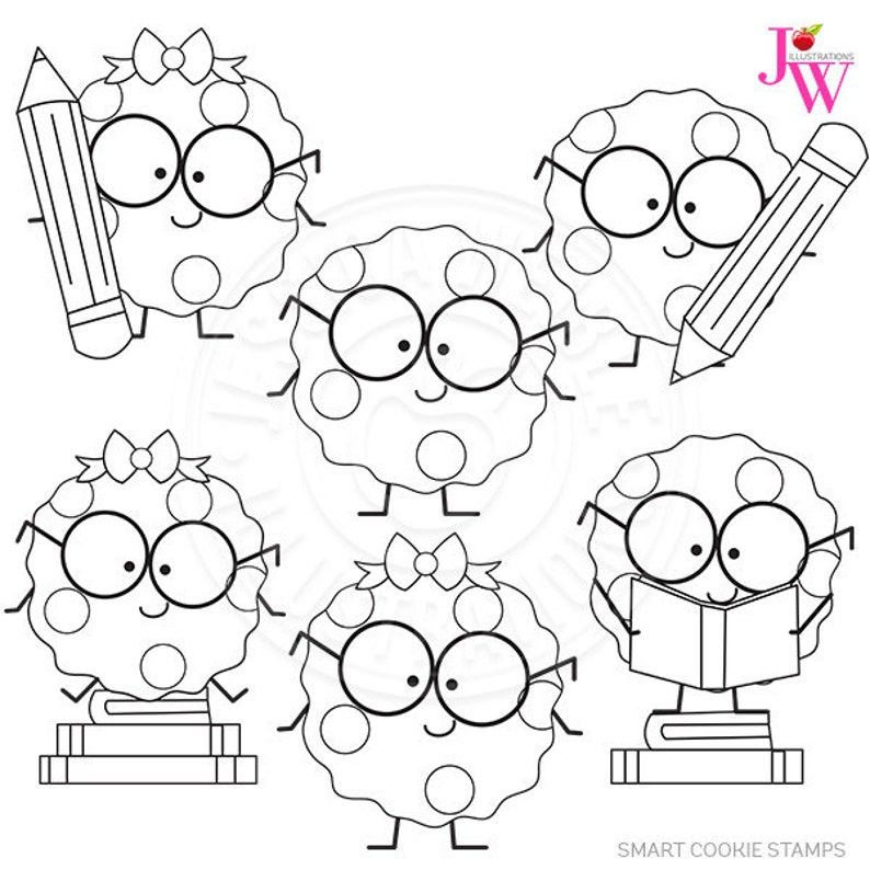 Smart Cookie Cute Digital Stamps Cookie With Glasses Clipart
