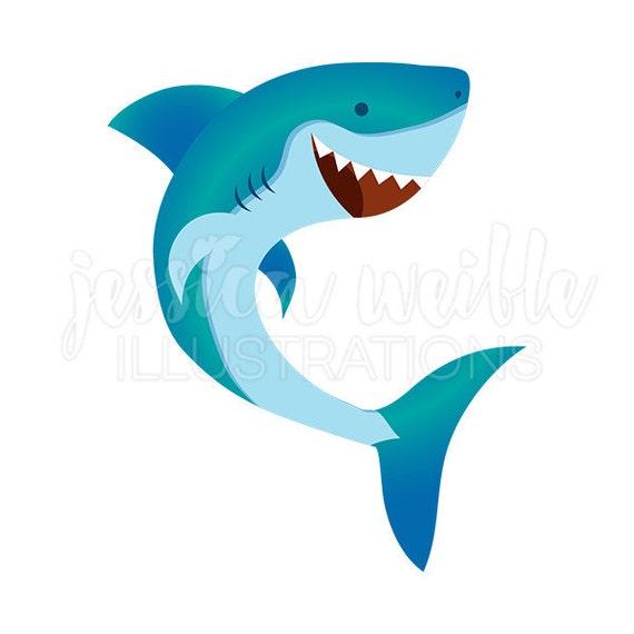 happy shark cute digital clipart cute shark clip art shark etsy rh etsy com cute baby shark clipart Cartoon Shark Clip Art
