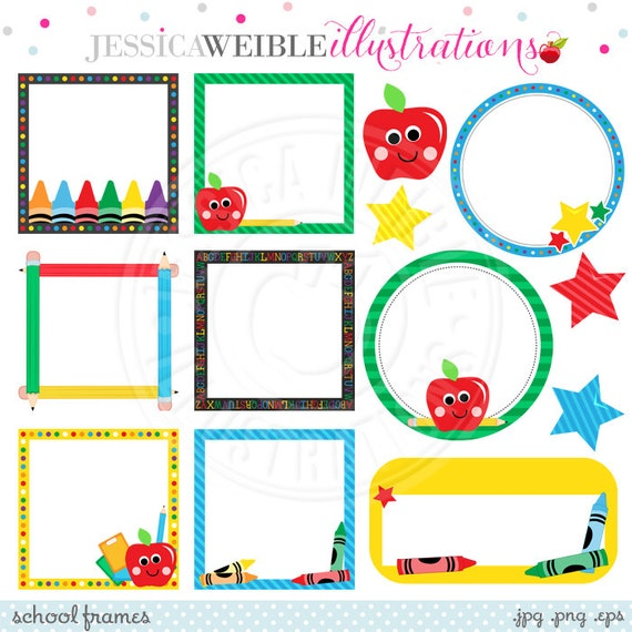 School Frames Cute Digital Clipart for Commercial or Personal | Etsy