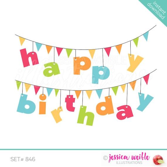 Happy Birthday Banner Cute Digital Clipart Birthday Clip