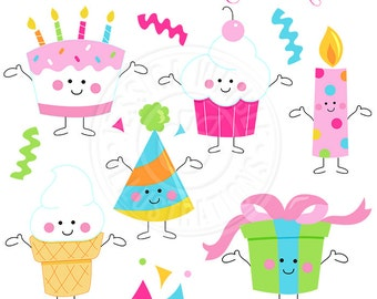 Birthday Characters Cute Digital Clipart, Birthday Clip Art, Cute Birthday Cake Graphics, Cupcake Clipart, Ice Cream Clip art, Party Clipart