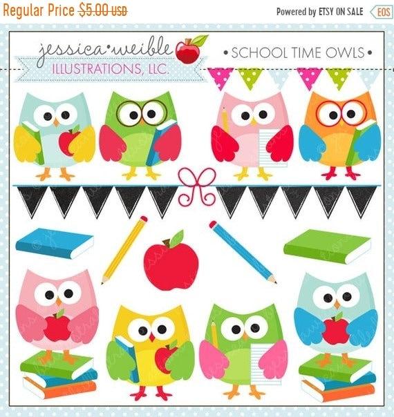 on sale school time owls cute digital clipart for commercial and rh etsystudio com Teacher Reading Clip Art digital clock clipart for teachers