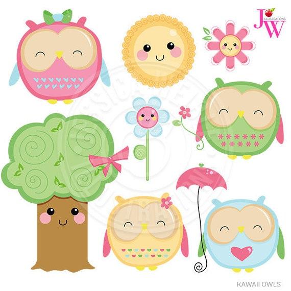 Kawaii Owls Cute Digital Clipart, Cute Owl Clipart, Owl ...