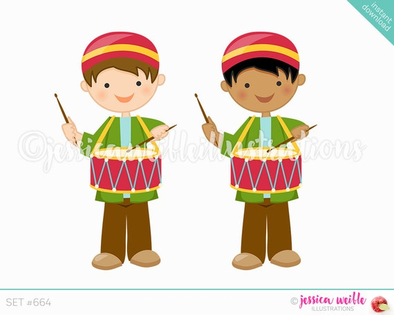 Christmas Drummer Boy Cute Digital Clipart Cute Boy Drummer Etsy