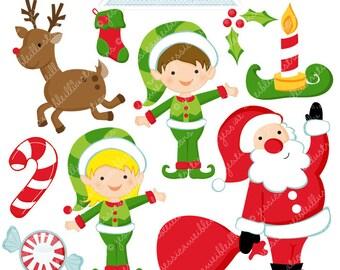 Santas Here Cute Digital Clipart - Commercial Use OK - Christmas Graphics, Christmas Clipart