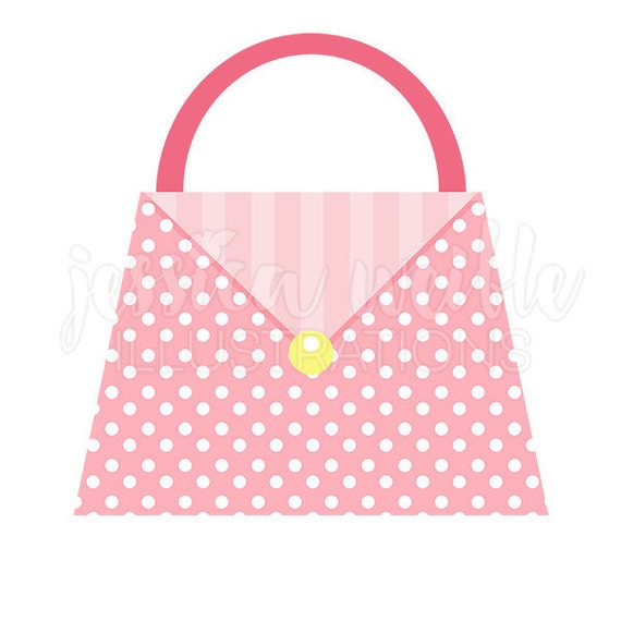 polka dot pink purse cute digital clipart fashion clip art etsy rh etsy com Purse Outline Clip Art Women's Purse Clip Art