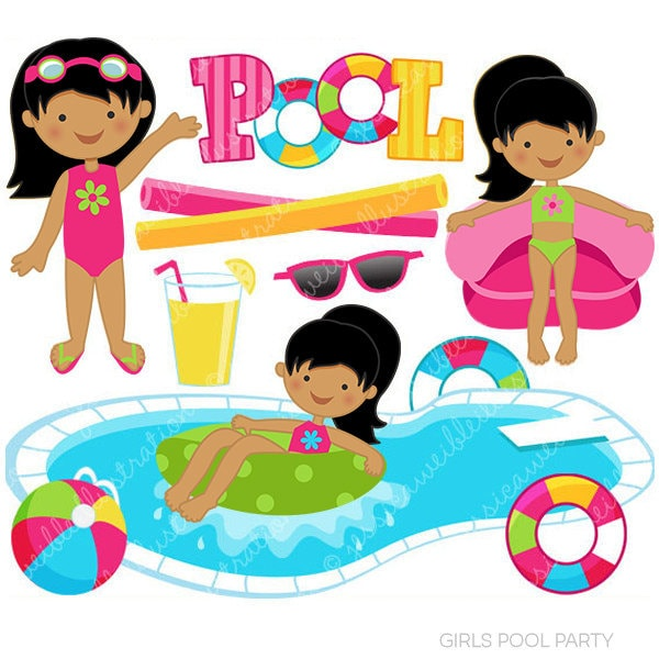 Girls Pool Party Cute Clipart Pool Party Clip Art Summer ...