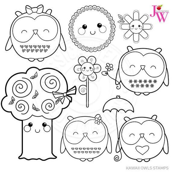 Kawaii Owls Cute Digital Stamps Spring Owl Clipart Kawaii