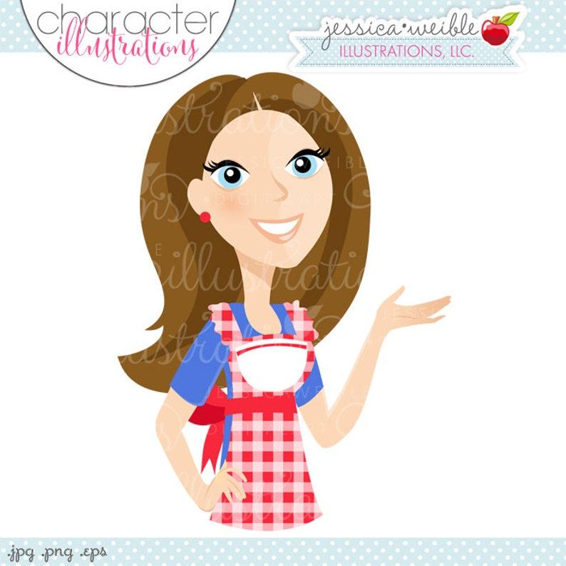 Brunette Gingham Apron Girl Character Illustration Brown Etsy