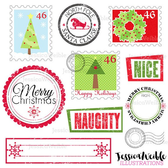 Stamps From Santa Cute Digital Clipart