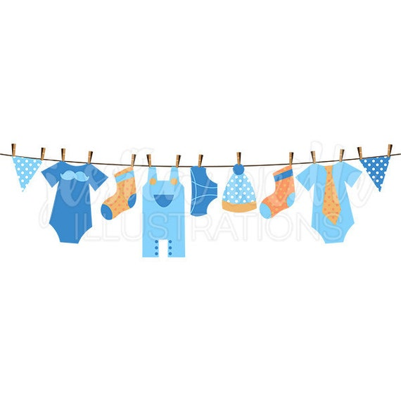 baby boy clothesline cute digital clipart boy clothesline etsy rh etsy com Baby Boy Clip Art baby shower clothesline clipart