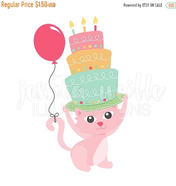 SALE Happy Birthday Kitty Clip Art Cute Digital Clipart Cat Cake Graphics Illustration 1691