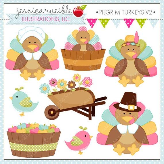 Pilgrim Turkeys V2 Cute Digital Clipart for Commercial or ...