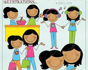 SALE Mom and Me Stick Figures Girls V2 Cute Digital Clipart for Invitations, Card Design, Scrapbooking, and Web Design, Mothers Day Clipart