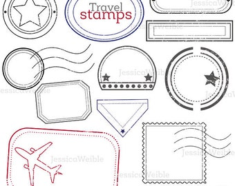Travel Stamps Cute Digital Clipart, Digital Stamp Clip art, Passport Stamp Graphic, Overlay Travel Clip art, Mail Delivery Stamp, Outline