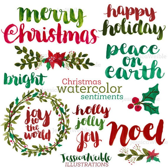 Christmas Lettering.Christmas Watercolor Sentiments Brush Lettering Merry Christmas Hand Lettered Christmas Phrases Watercolor Christmas Photo Overlay